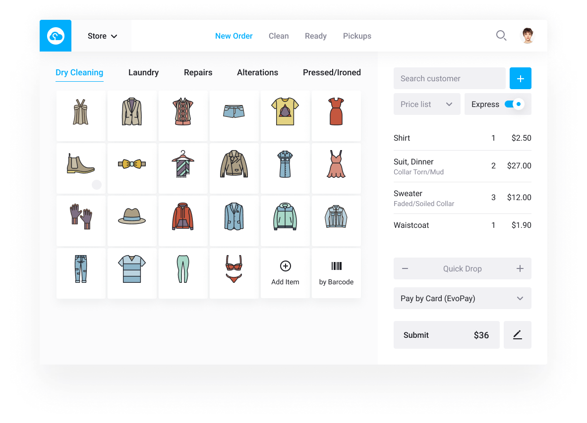 CleanCloud Dry Cleaning Software / Laundry Point of Sales